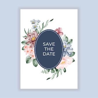 Carte d'invitation ronde florale de mariage de beauté avec des fleurs de bordeaux bleu rose