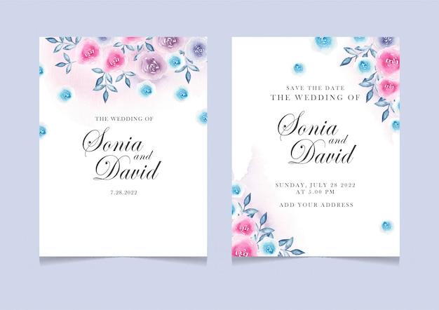 Carte d'invitation avec rose bleu rose