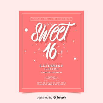 Carte d'invitation rose sweet sixteen