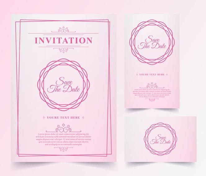 Carte d'invitation rose vintage de luxe