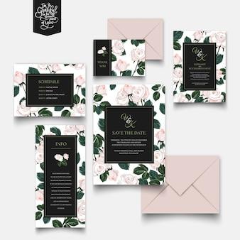 Carte d'invitation roses et collection de lettres.