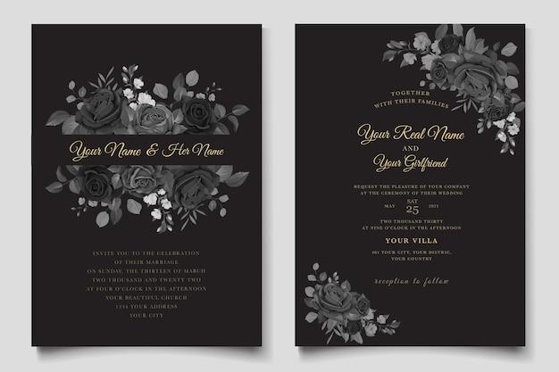 Carte d'invitation de roses noires dessinées à la main
