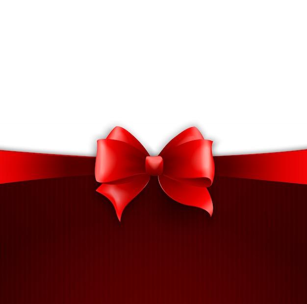 Carte d'invitation avec ruban de vacances rouge et archet