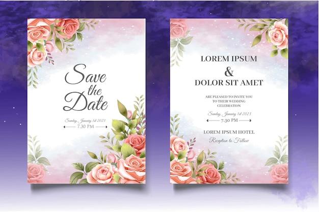 Carte d'invitation sertie de belles roses