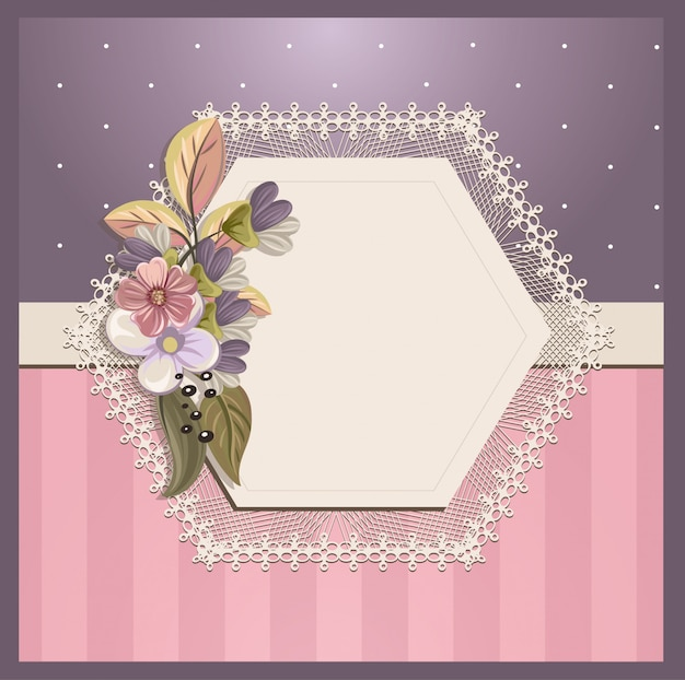 Carte d'invitation shabby chic