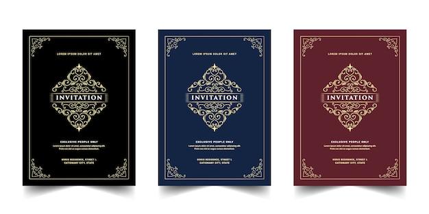 Carte d'invitation de style antique royal de luxe pour l'anniversaire de mariage de passe de fête d'anniversaire d'entrée vip