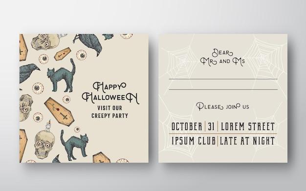 Carte d'invitation de vecteur abstrait halloween avec des crânes, des chats, des cercueils, des yeux et des bougies
