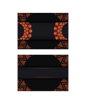 Carte d'invitation de vecteur avec place pour votre texte et motifs abstraits. conception luxueuse de carte postale prête à imprimer en noir avec des motifs orange.