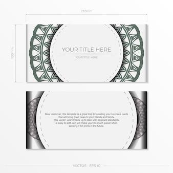 Carte d'invitation de vecteur avec place pour votre texte et motifs vintage. design de carte postale blanc luxueux prêt à imprimer avec des motifs grecs foncés.