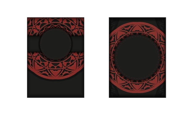 Carte d'invitation de vecteur avec place pour votre texte et ornement vintage. conception de carte postale de couleur noire et rouge avec des motifs luxueux.