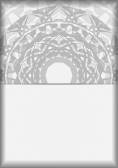 Carte d'invitation de vecteur avec place pour votre texte et ornements grecs. conception de carte postale couleurs blanches avec des motifs de mandala noirs.
