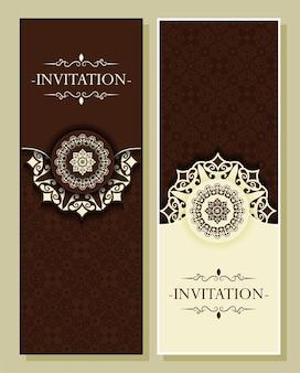 Carte d'invitation verticale de style mandala