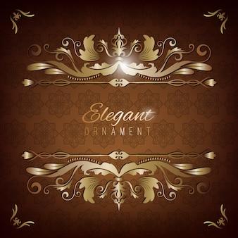 Carte d'invitation vintage. fond de luxe marron avec cadre doré. modèle pour le design