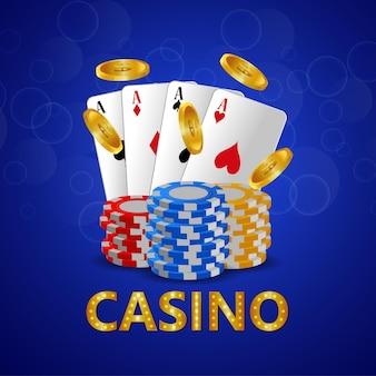 Carte d'invitation vip de luxe de casino avec des cartes à jouer et des jetons de casino