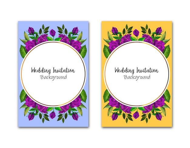 Carte d'invitations de mariage géométrique avec roses rouges