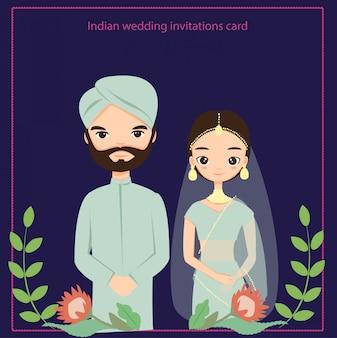 Carte d'invitations de mariage indien, vecteur isolé avec fond