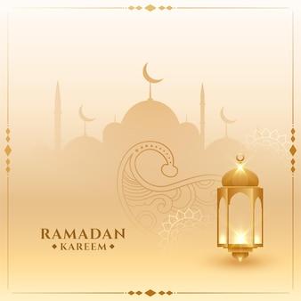 Carte islamique traditionnelle de ramadan kareem avec lanterne