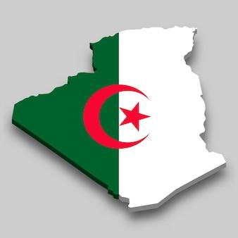 Carte isométrique 3d de l'algérie avec le drapeau national.