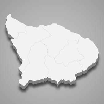 La carte isométrique 3d d'apurimac est une région du pérou