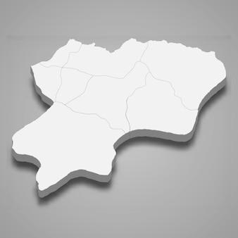 La carte isométrique 3d d'artvin est une province de turquie