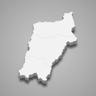 La carte isométrique 3d d'atacama est une région du chili