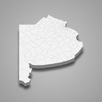 La carte isométrique 3d de buenos aires est une province de l'argentine