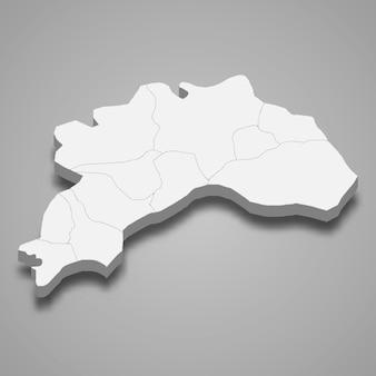 La carte isométrique 3d de burdur est une province de turquie