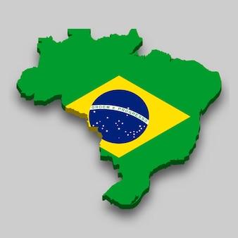 Carte isométrique 3d du brésil avec drapeau national.