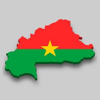 Carte isométrique 3d du burkina faso avec le drapeau national.