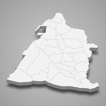 Carte isométrique 3d du comté de changhua est une région de taïwan