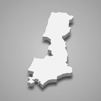 Carte isométrique 3d du district central est une région d'israël