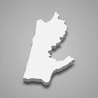 Carte isométrique 3d du district de haïfa est une région d'israël