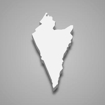 Carte isométrique 3d du district sud est une région d'israël