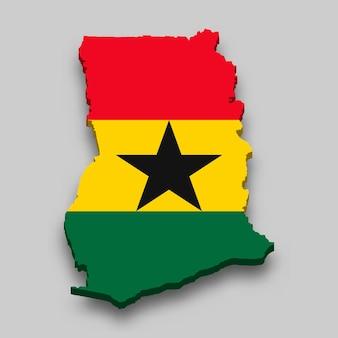 Carte isométrique 3d du ghana avec le drapeau national.