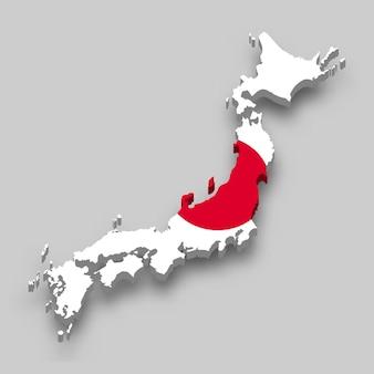 Carte isométrique 3d du japon avec le drapeau national.