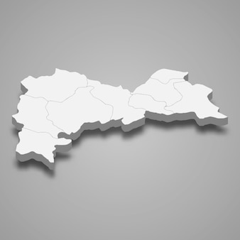 La carte isométrique 3d d'erzincan est une province de turquie