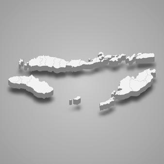 Carte isométrique 3d de l'est de nusa tenggara est une province de l'indonésie