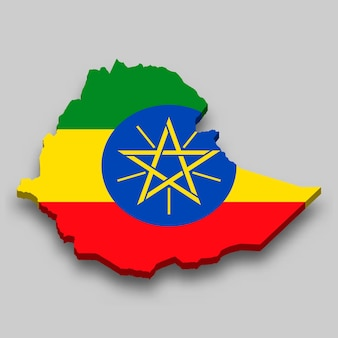 Carte isométrique 3d de l'éthiopie avec le drapeau national.