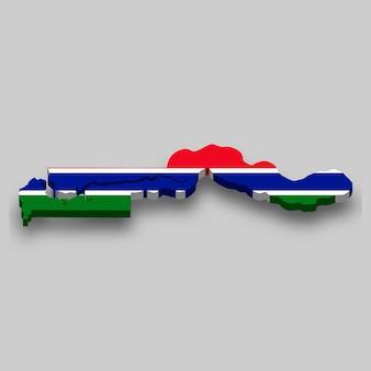 Carte isométrique 3d de la gambie avec le drapeau national.
