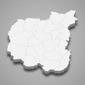 La carte isométrique 3d de l'oblast de tchernihiv est une région de l'ukraine