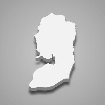 Carte isométrique 3d de la région de judée-samarie est une région d'israël