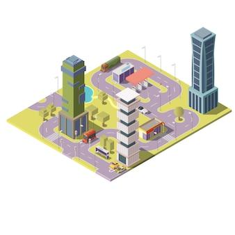 Carte isométrique 3d de la ville avec des bâtiments