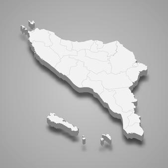 Carte isométrique d'aceh est une province d'indonésie