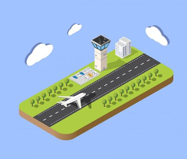 Carte isométrique de l'aéroport de la ville, des arbres et du vol de la construction