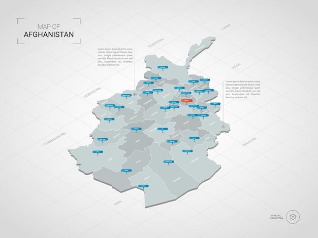 Carte isométrique de l'afghanistan.