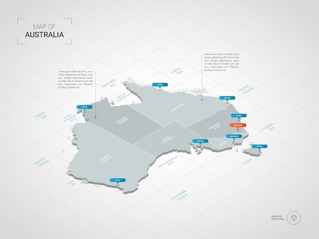 Carte isométrique de l'australie.