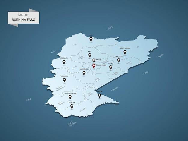 Carte isométrique du burkina faso 3d, illustration avec villes, frontières, capital, divisions administratives et marques de pointeur