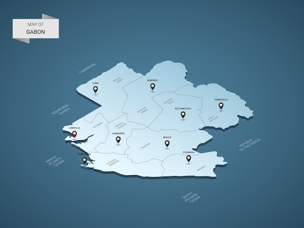 Carte isométrique du gabon 3d, illustration avec villes, frontières, capital, divisions administratives et marques de pointeur