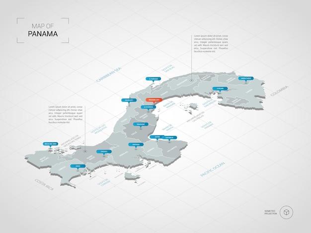 Carte isométrique du panama en 3d.