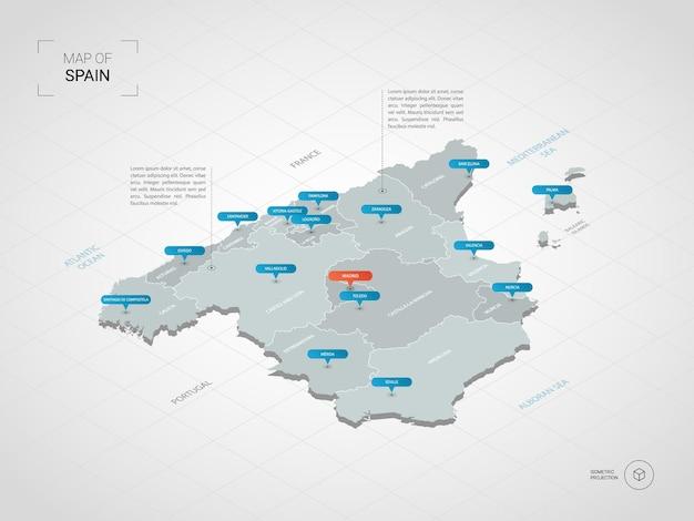 Carte isométrique de l'espagne. illustration de carte stylisée avec villes, frontières, capitale, divisions administratives et marques de pointeur; fond dégradé avec grille.